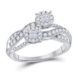 1/2 CTW Princess Diamond Cluster Bridal Wedding Engagement Ring 14kt White Gold - REF-61H4R