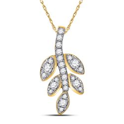 1/4 CTW Womens Round Diamond Leaf Branch Fashion Pendant 10kt Yellow Gold - REF-20N5A