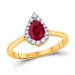 3/4 CTW Womens Pear Ruby Diamond Halo Fashion Ring 14kt Yellow Gold - REF-42R8X