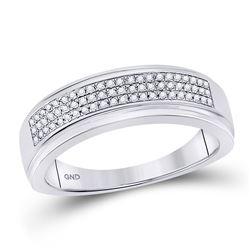 1/5 CTW Mens Round Diamond Pave Band Ring 10kt White Gold - REF-35V4Y