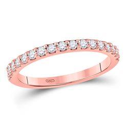 1/3 CTW Womens Round Diamond Wedding Single Row Band Ring 14kt Rose Gold - REF-34W3H