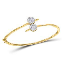 3/4 CTW Womens Princess Diamond Bypass Bangle Bracelet 14kt Yellow Gold - REF-102F3W
