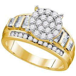 1 CTW Round Diamond Cluster Bridal Wedding Engagement Ring 10kt Yellow Gold - REF-69H5R