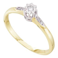 1/20 CTW Round Diamond Solitaire Bridal Wedding Engagement Ring 10kt Yellow Gold - REF-13M6F