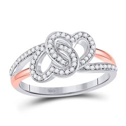 1/5 CTW Womens Round Diamond Double Heart Ring 10kt Two-tone Gold - REF-23H3R