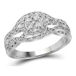 1/3 CTW Round Diamond Cluster Bridal Wedding Engagement Ring 10kt White Gold - REF-47R3X