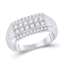 1 CTW Mens Round Diamond Wedding Band Ring 14kt White Gold - REF-121X5T