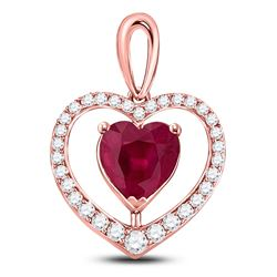 1 & 1/4 CTW Womens Heart Lab-Created Ruby Fashion Pendant 10kt Rose Gold - REF-31X4T