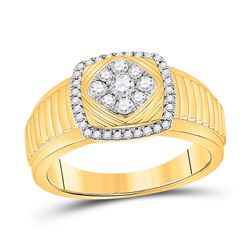 1/2 CTW Mens Round Diamond Ribbed Square Cluster Ring 10kt Yellow Gold - REF-64A8M