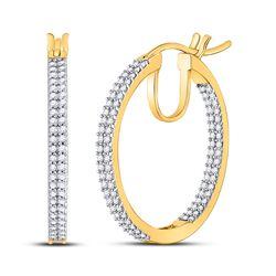 1/2 CTW Womens Round Diamond Inside Outside Hoop Earrings 10kt Yellow Gold - REF-40X8T
