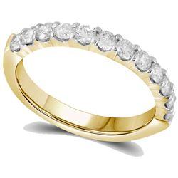 1/2 CTW Womens Round Diamond Single Row Wedding Band Ring 14kt Yellow Gold - REF-58T2V