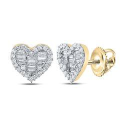 1/2 CTW Womens Baguette Diamond Heart Earrings 10kt Yellow Gold - REF-27T3V