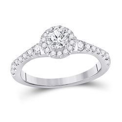 7/8 CTW Round Diamond Solitaire Bridal Wedding Engagement Ring 14kt White Gold - REF-143H2R