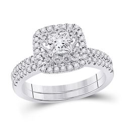 1 CTW Princess Diamond Bridal Wedding Ring 14kt White Gold - REF-194F2W