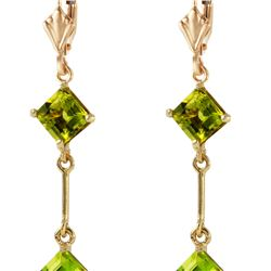 Genuine 3.75 ctw Peridot Earrings 14KT Yellow Gold - REF-30R6P