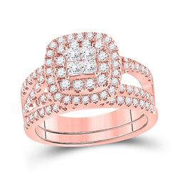 1 CTW Princess Diamond Bridal Wedding Ring 14kt Rose Gold - REF-126W2H