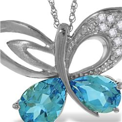 Genuine 4.18 ctw Blue Topaz & Diamond Necklace 14KT White Gold - REF-111N3R