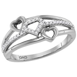 1/10 CTW Womens Round Diamond Double Heart Striped Band Ring 10kt White Gold - REF-19M6F