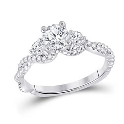 1 CTW Round Diamond 3-stone Bridal Wedding Engagement Ring 14kt White Gold - REF-308H7R
