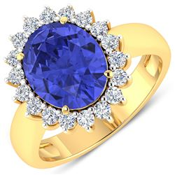 Natural 4.29 CTW Tanzanite & Diamond Ring 14K Yellow Gold - REF-145T3H