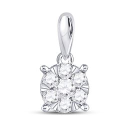 1/4 CTW Womens Round Diamond Flower Cluster Pendant 14kt White Gold - REF-20R5X
