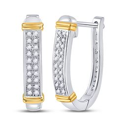1/6 CTW Womens Round Diamond Oblong Hoop Earrings 10kt Two-tone Gold - REF-17X6T