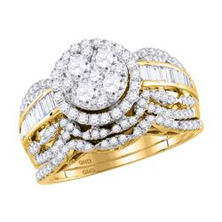 1 & 1/2 CTW Round Diamond Cluster Bridal Wedding Ring 14kt Yellow Gold - REF-139T8V