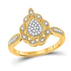 1/8 CTW Womens Round Diamond Teardrop Cluster Ring 10kt Yellow Gold - REF-20M5F