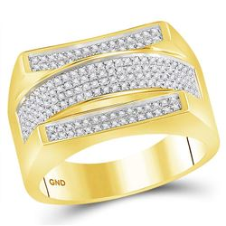 1/3 CTW Mens Round Diamond Dome Cluster Ring 10kt Yellow Gold - REF-78N5A