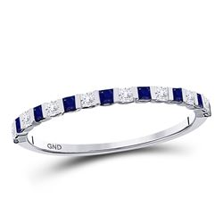 3/8 CTW Womens Princess Blue Sapphire Diamond Stackable Band Ring 10kt White Gold - REF-19F2W