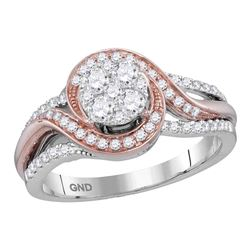 5/8 CTW Round Diamond Cluster Bridal Wedding Engagement Ring 14kt Two-tone Gold - REF-68M2F