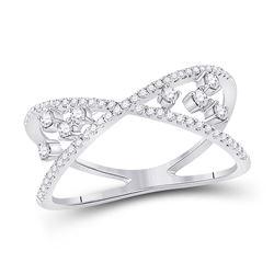 1/3 CTW Womens Round Diamond Modern Scattered Fashion Ring 14kt White Gold - REF-34R8X