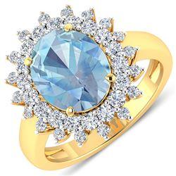 Natural 3.49 CTW Aquamarine & Diamond Ring 14K Yellow Gold - REF-135H5M