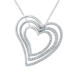 0.64 CTW Diamond Necklace 18K White Gold - REF-118R9K