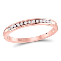 1/10 CTW Womens Round Diamond Single Row Channel-set Wedding Band Ring 14kt Rose Gold - REF-21X8T