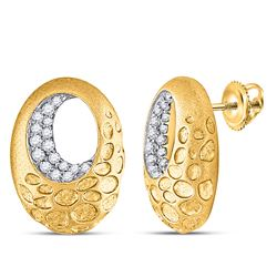 1/5 CTW Womens Round Diamond Pitted Oval Earrings 14kt Yellow Gold - REF-37F5W