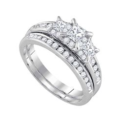 1 CTW Princess Diamond 3-Stone Bridal Wedding Ring 14kt White Gold - REF-129A5M