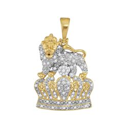 1/3 CTW Mens Round Diamond Lion Tiger Crown Charm Pendant 10kt Yellow Gold - REF-40H8R