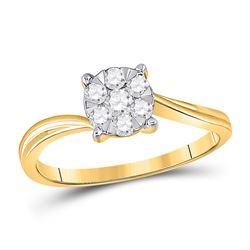 1/3 CTW Womens Round Diamond Flower Cluster Ring 10kt Yellow Gold - REF-31H9R
