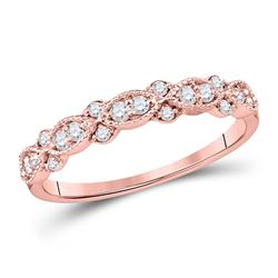 1/4 CTW Womens Round Diamond Stackable Band Ring 10kt Rose Gold - REF-23X3T