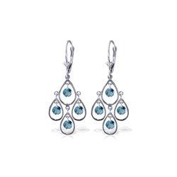 Genuine 2.4 ctw Blue Topaz Earrings 14KT White Gold - REF-54N9R