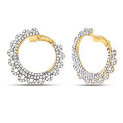 1 & 1/2 CTW Womens Round Diamond Hoop Earrings 14kt Yellow Gold - REF-119Y4N