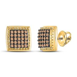 1/2 CTW Womens Round Brown Diamond Square Cluster Earrings 10kt Yellow Gold - REF-25R9X