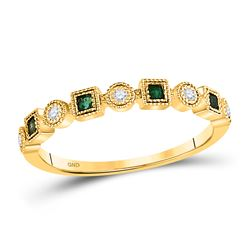 1/8 CTW Womens Princess Emerald Diamond Square Dot Stackable Band Ring 10kt Yellow Gold - REF-17T6V