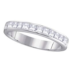 3/4 CTW Womens Princess Diamond 4mm Wedding Band Ring 14kt White Gold - REF-85X4T