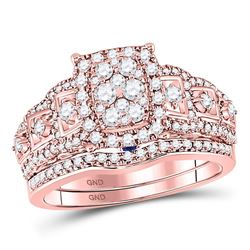 1 CTW Round Diamond Bridal Wedding Ring 14kt Rose Gold - REF-102N3A