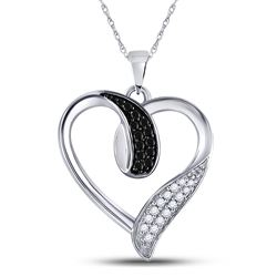 1/5 CTW Womens Round Black Color Enhanced Diamond Heart Pendant 10kt White Gold - REF-16W4H