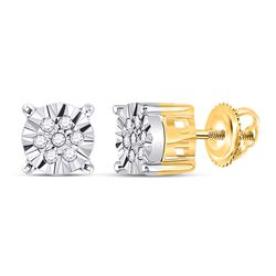 1/10 CTW Womens Round Diamond Cluster Earrings 10kt Yellow Gold - REF-18V5Y