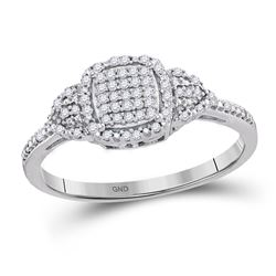1/6 CTW Womens Round Diamond Square Cluster Ring 10kt White Gold - REF-19A2M