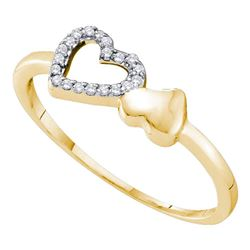1/20 CTW Womens Round Diamond Sloender Double Heart Ring 10kt Yellow Gold - REF-11W6H